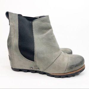 Sorel Dark Gray Lea Wedge Booties